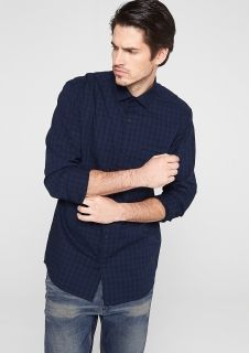 Slim: tone-in-tone check shirt